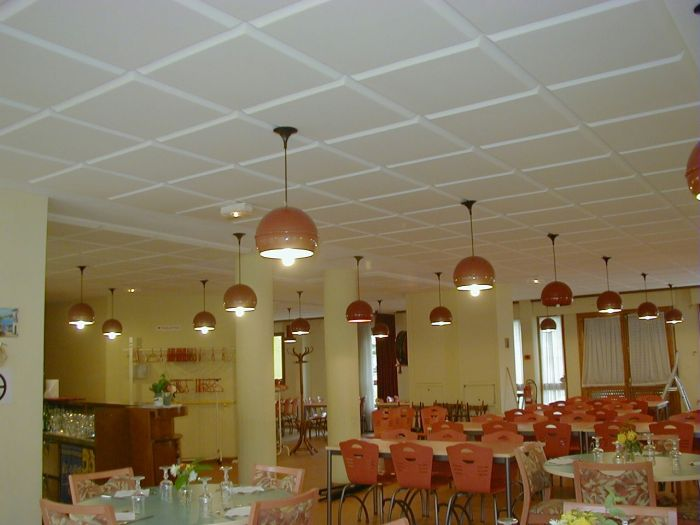 Habillage Mural Bois M1 : Restaurant correction plafond mousse acoustique