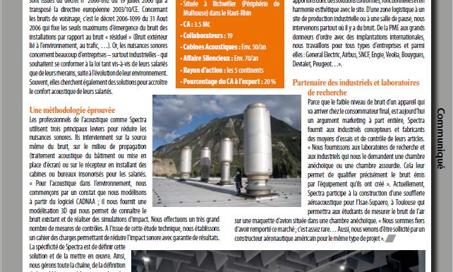 Article Spectra Informations Entreprise Solutions Acoustiques Industrie